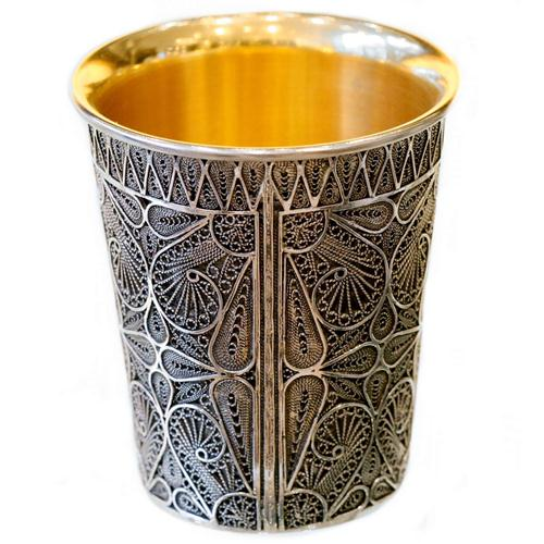 Silver Yemenite Filigree Kiddush Cup - Baltinester Jewelry
