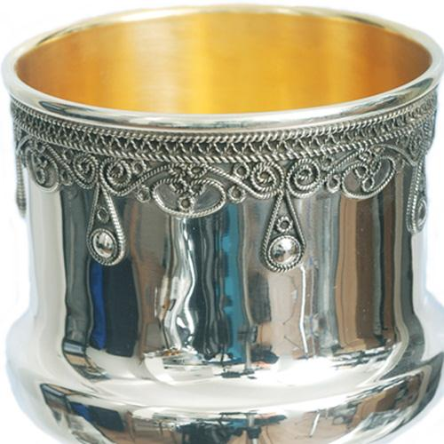 Silver Filigree Drop Kiddush Cup 3 - Baltinester Jewelry