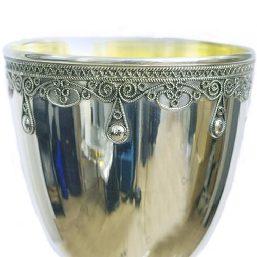 Silver Yemenite Drop Kiddush Cup 3 - Baltinester Jewelry