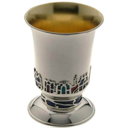 Silver Jerusalem Enamel Kiddush Cup - Baltinester Jewelry