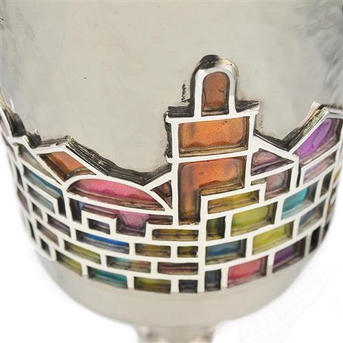 Enamel Rainbow Jerusalem Hammered Silver Stem Kiddush Cup 2 - Baltinester Jewelry