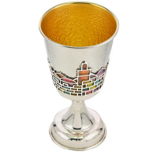 Enamel Rainbow Jerusalem Hammered Silver Stem Kiddush Cup 3 - Baltinester Jewelry