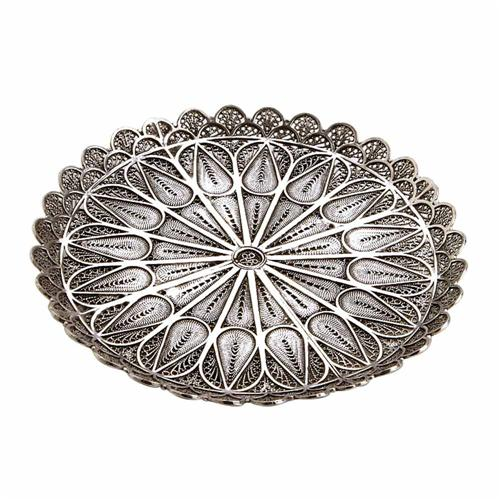 Sterling Silver Filigree Kiddush Cup Plate - Baltinester Jewelry