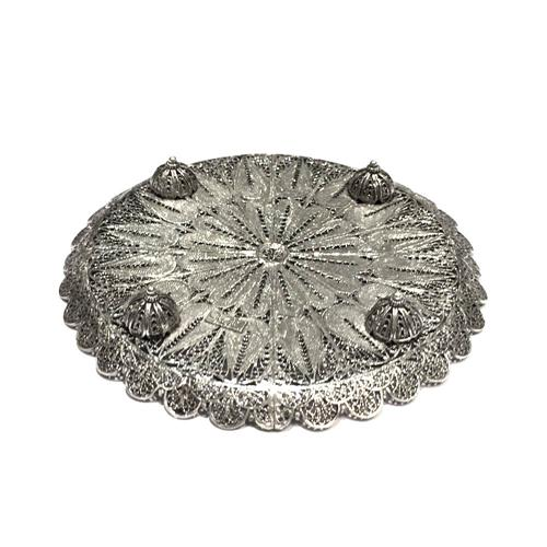 Sterling Silver Filigree Kiddush Cup Plate 2 - Baltinester Jewelry
