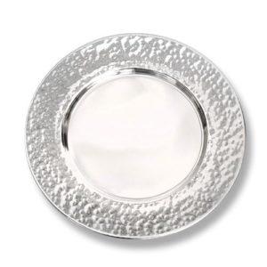 Silver Hammered Kiddush Plate - Baltinester Jewelry