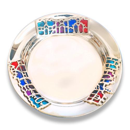 Silver Jerusalem Enamel Kiddush Plate - Baltinester Jewelry
