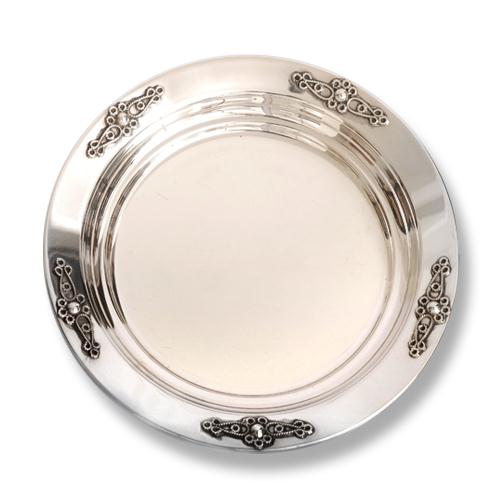Silver Filigree Flower Kiddush Plate - Baltinester Jewelry
