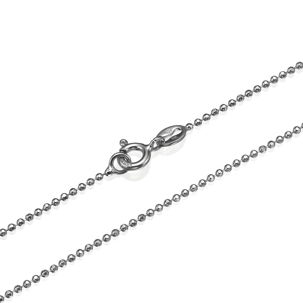 14k White Gold Diamond-Cut Ball Chain 1.3mm - Baltinester Jewelry
