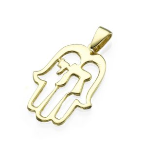 Hamsa Hai Hand Yellow Gold Cutout Pendant - Baltinester Jewelry