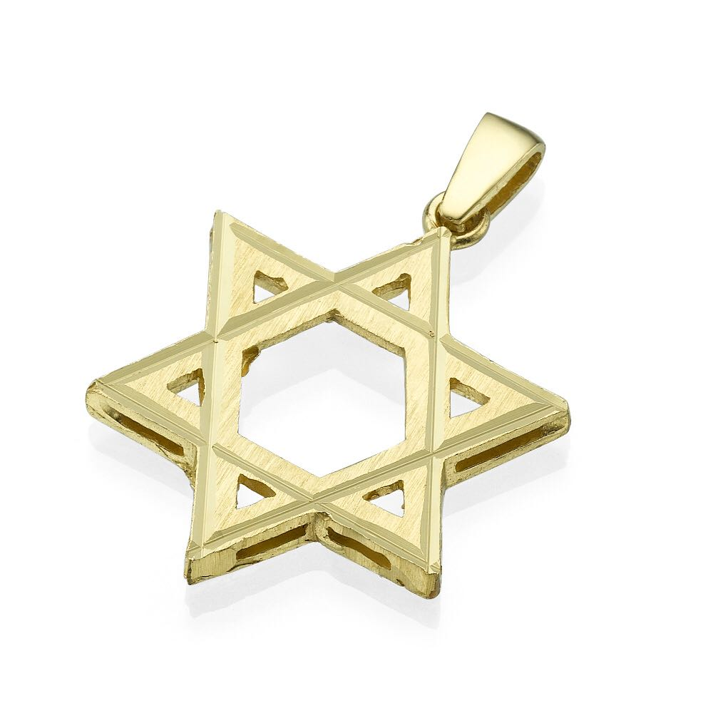 Star of David with Lines Dual Finish 14k Gold - Baltinester Jewelry