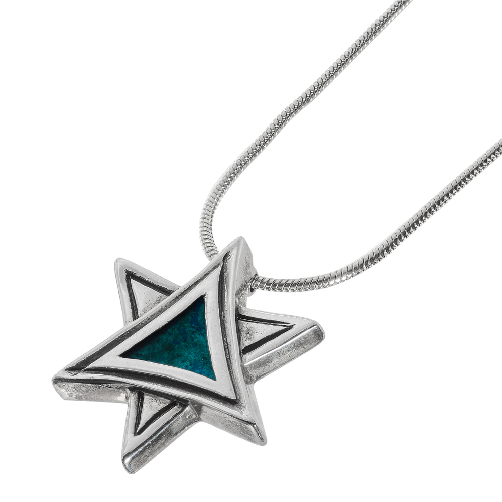 Eilat Stone Artistic Silver Star of David Necklace - Baltinester Jewelry