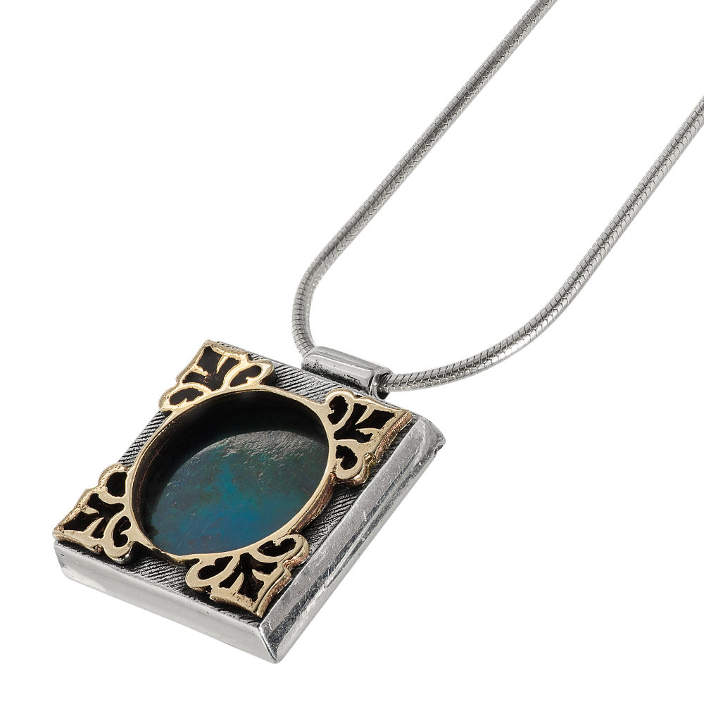 Square Golden Frame Eilat Stone Silver Necklace - Baltinester Jewelry