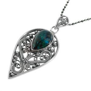Spike Filigree Adorned Eilat Stone Silver Pendant - Baltinester Jewelry