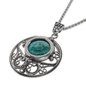 Round Yemenite Style Eilat Stone Silver Necklace - Baltinester Jewelry