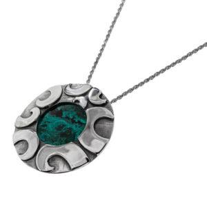 Modern Round Eilat Stone Silver Necklace - Baltinester Jewelry