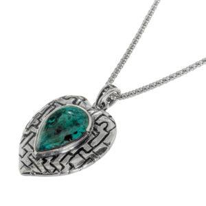 Heart Shaped Eilat Stone Silver Pendant - Baltinester Jewelry