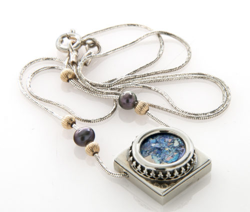 Roman Glass Silver Ornamental Pearls Dual Shape Necklace 2 - Baltinester Jewelry