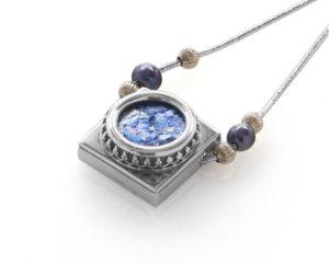 Roman Glass Silver Ornamental Pearls Dual Shape Necklace - Baltinester Jewelry