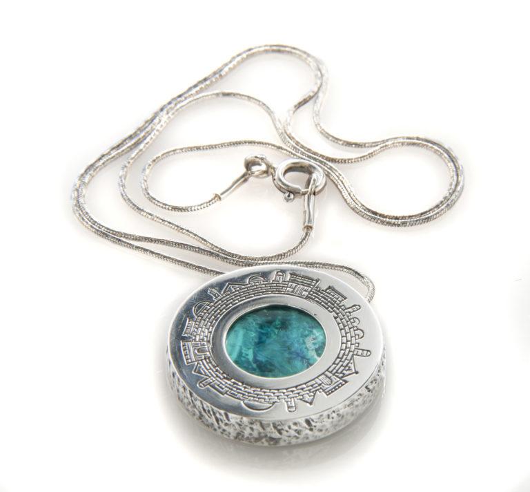 Jerusalem Skyline Eilat Stone Round Textured Silver Necklace - Baltinester Jewelry