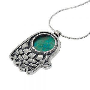 Eilat Stone Jerusalem Hamsa Hand Silver Necklace - Baltinester Jewelry