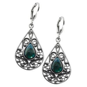 Eilat Stone Drop-Shaped Silver Dangle Earrings - Baltinester Jewelry