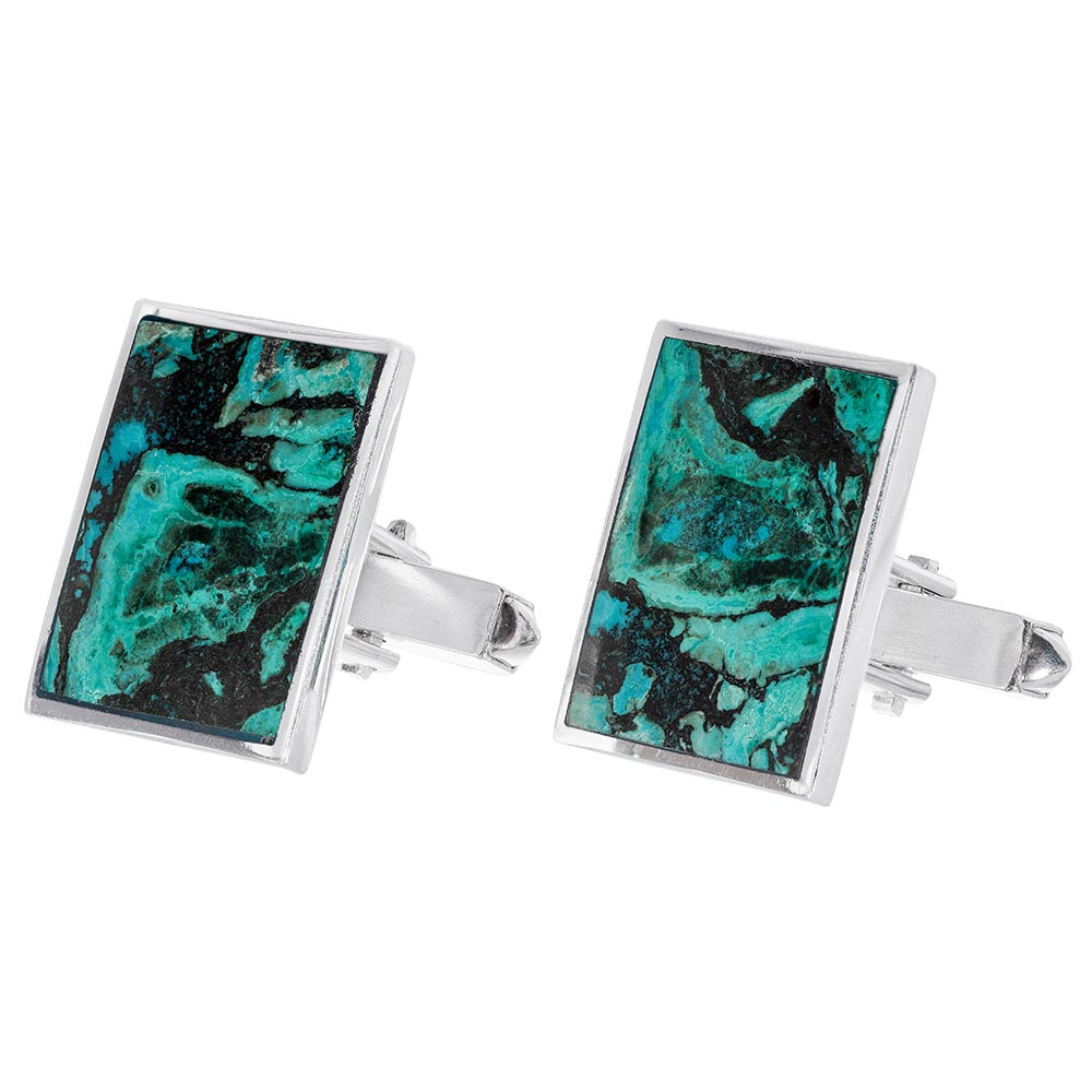 Sterling Silver Eilat Stone Rectangular Shaped Cuff Links - Baltinester Jewelry