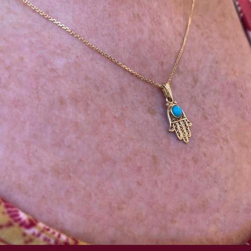 Gold Hamsa Pendant