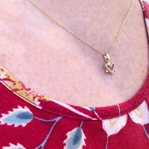 Heart Star of David Gold Pendant