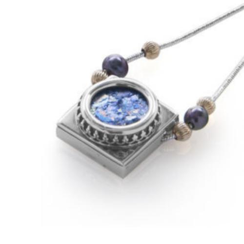 Roman Glass Silver Necklace