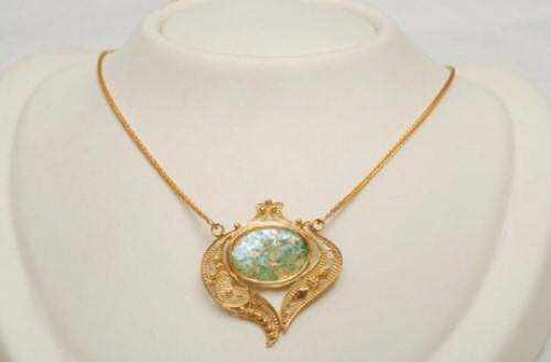 Gold Roman Glass Necklace