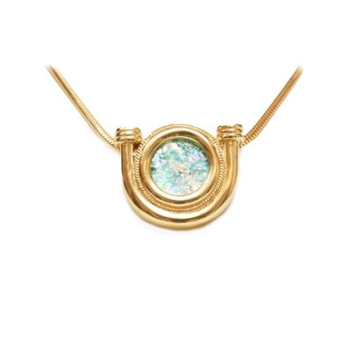 14k Roman Glass Horseshoe Gold Necklace