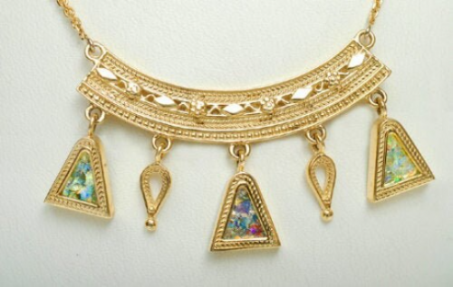 14K GOLD ROMAN GLASS YEMENITE NECKLACE