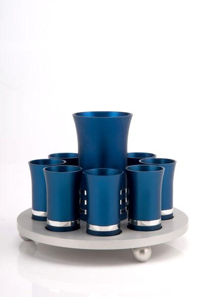 Kiddush Cup Set for 8 - Blue - Baltinester Jewelry
