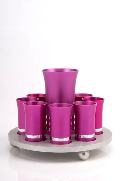 Kiddush Cup Set for 8 - Bright Pink - Baltinester Jewelry