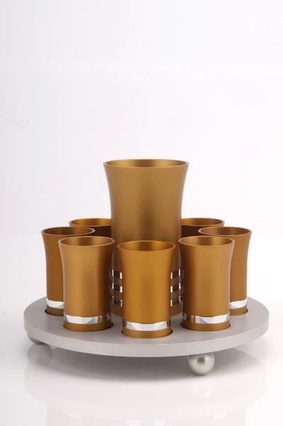 Kiddush Cup Set for 8 - Gold - Baltinester Jewelry