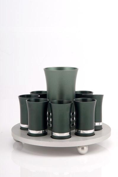 Kiddush Cup Set for 8 - Green - Baltinester Jewelry