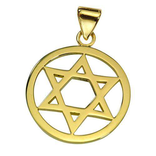 14k Gold Round Star of David Pendant - Yellow Gold - Baltinester Jewelry