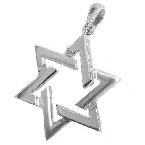 14k Gold Star of David Pendant - White Gold - Baltinester Jewelry