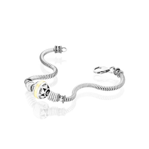 silver and gold shema bracelet