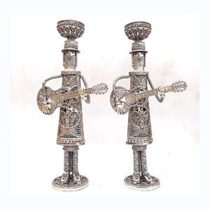 Hasidic Musicians Sterling Silver Candlesticks - Baltinester Jewelry