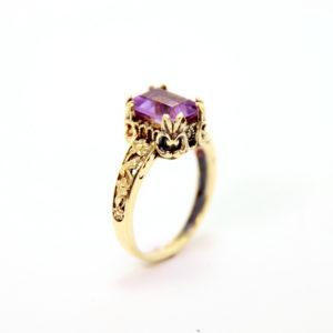 14k Gold Amethyst Ring - Baltinester Jewelry