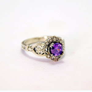 White Gold Amethyst Diamond Ring - Baltinester Jewelry