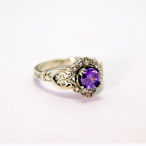 White Gold Amethyst Diamond Ring - Baltinester Jewelry