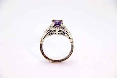 White Gold Amethyst Diamond Ring 2 - Baltinester Jewelry