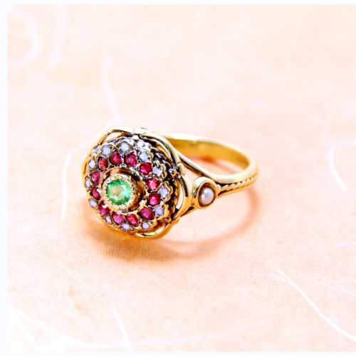Emerald Flower Ring 14k Gold 2 - Baltinester Jewelry