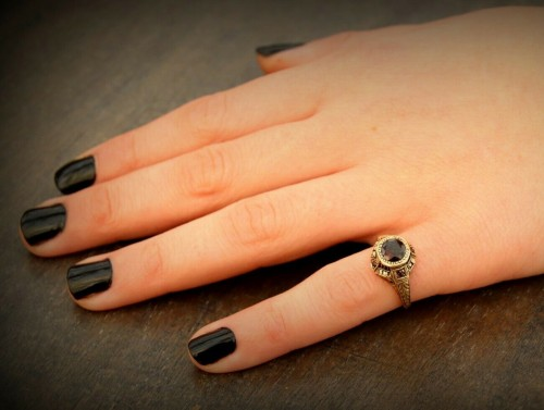 14k Gold Garnet and Ruby Ring