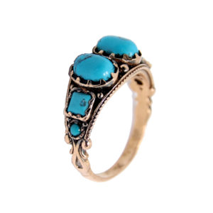Antique Rose Gold Turquoise Ring - Baltinester Jewelry