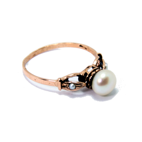 Art Deco Rose Gold Pearl Ring 2 - Baltinester Jewelry