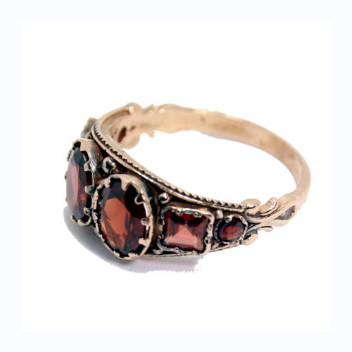 14k Rose Gold Antique Garnet Ring 2 - Baltinester Jewelry