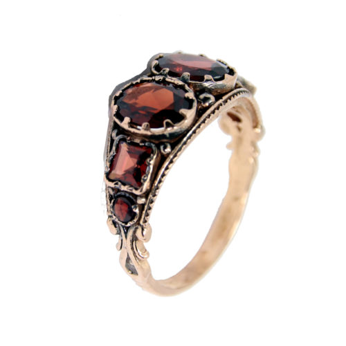14k Rose Gold Antique Garnet Ring - Baltinester Jewelry